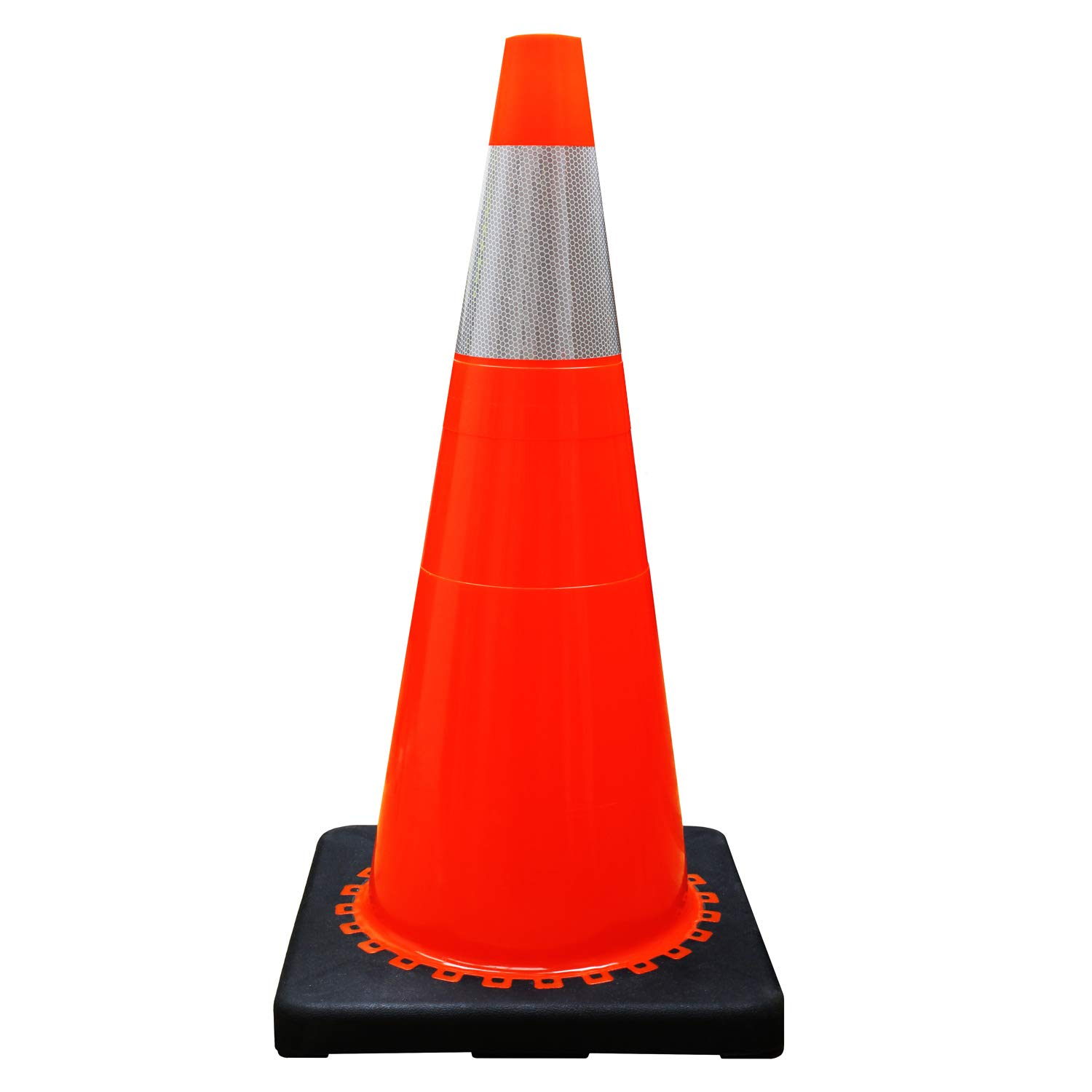 (Set of 4) RK 28'' Orange Safety Traffic PVC Cones, Black Base with One Reflective Collar (4 Cones)