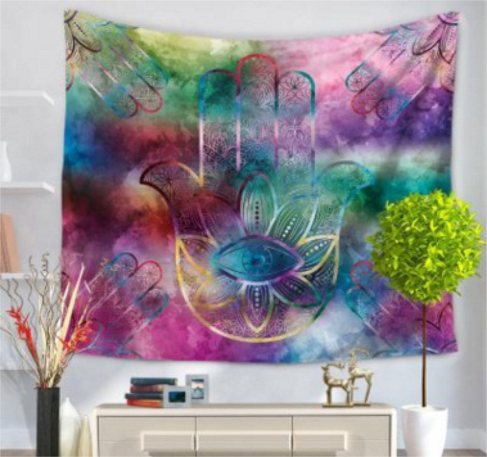 Hamsa Mano tapiz indio Mandala Floral tapiz colgar en la pared para casa de perro colcha arte alfombra