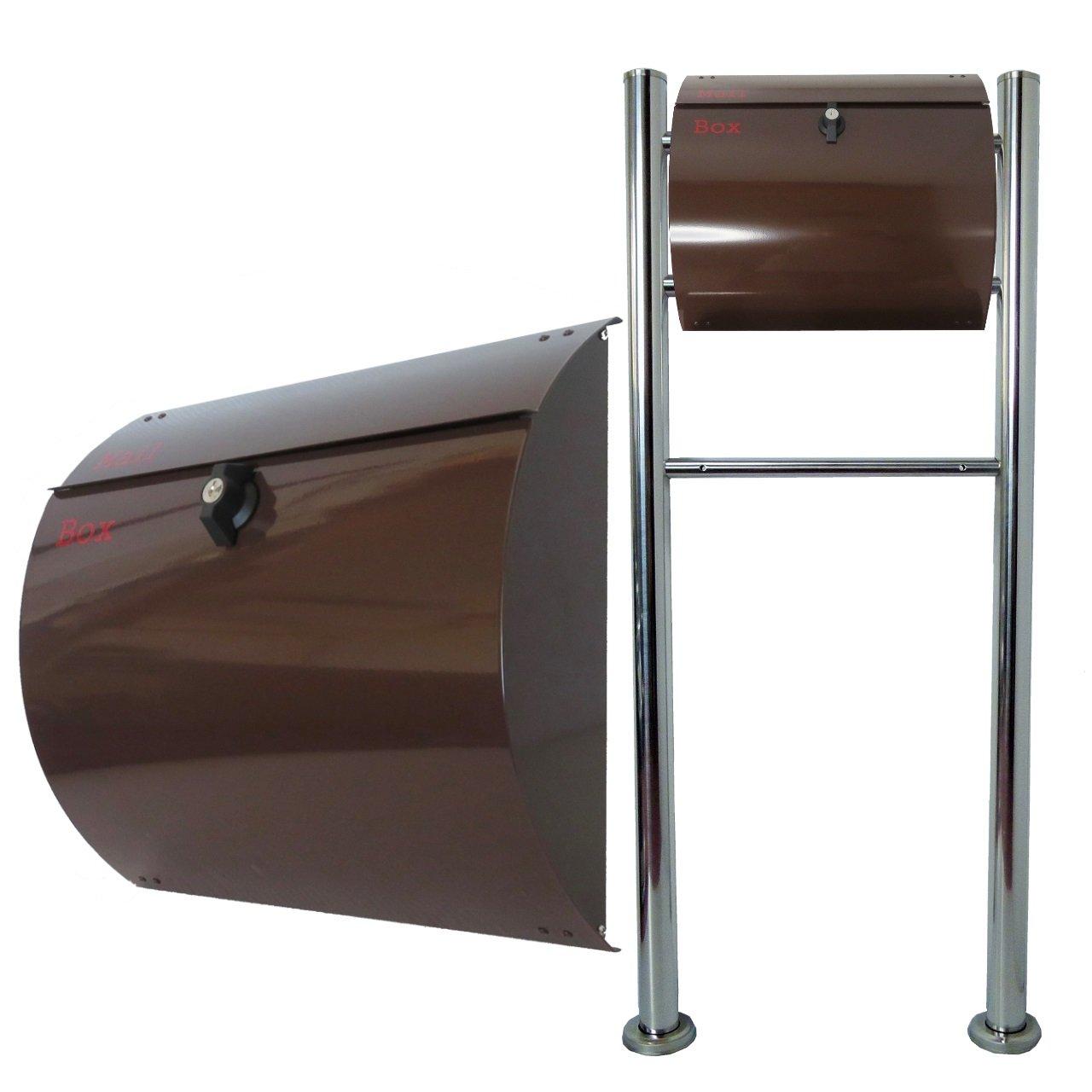 郵便ポスト郵便受けおしゃれ北欧風飾りバー付スタンド型プレミアムステンレスブラウン色ポストpm06f-pm061-1 B076GTQ2X5 20880