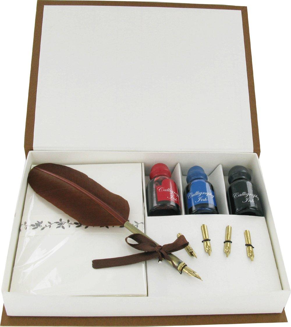 Set per la scrittura con penna-piuma, 4 pennini 3 inchiostri e materiale di cartoleria Gentlemans Gifts Online