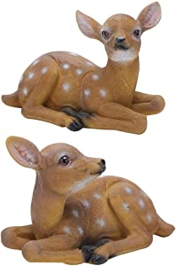 Liineparalle Garden Animal Statues Statue Decoration Resin Deer Statue Sculpture Ornaments Animal Garden Statue Couple Deer Models Sika Deer Ornament for Garden Park and Lawn(2Pcs)