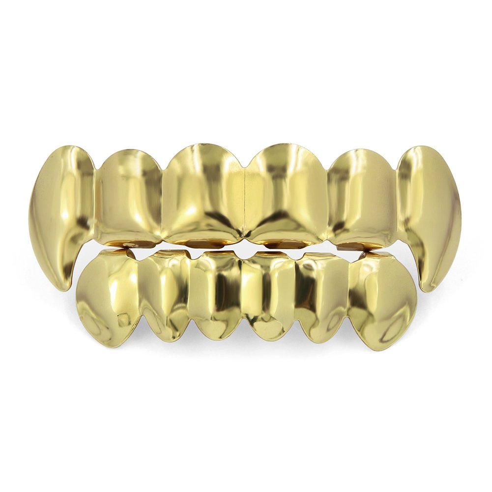 B074CSLZ5W TOPGRILLZ Hip Hop Gold Plated Top Vampire Fangs & Bottom Grillz Set with 4 Silicon Molding Bars for Your Teeth 614Uf1iyiCL