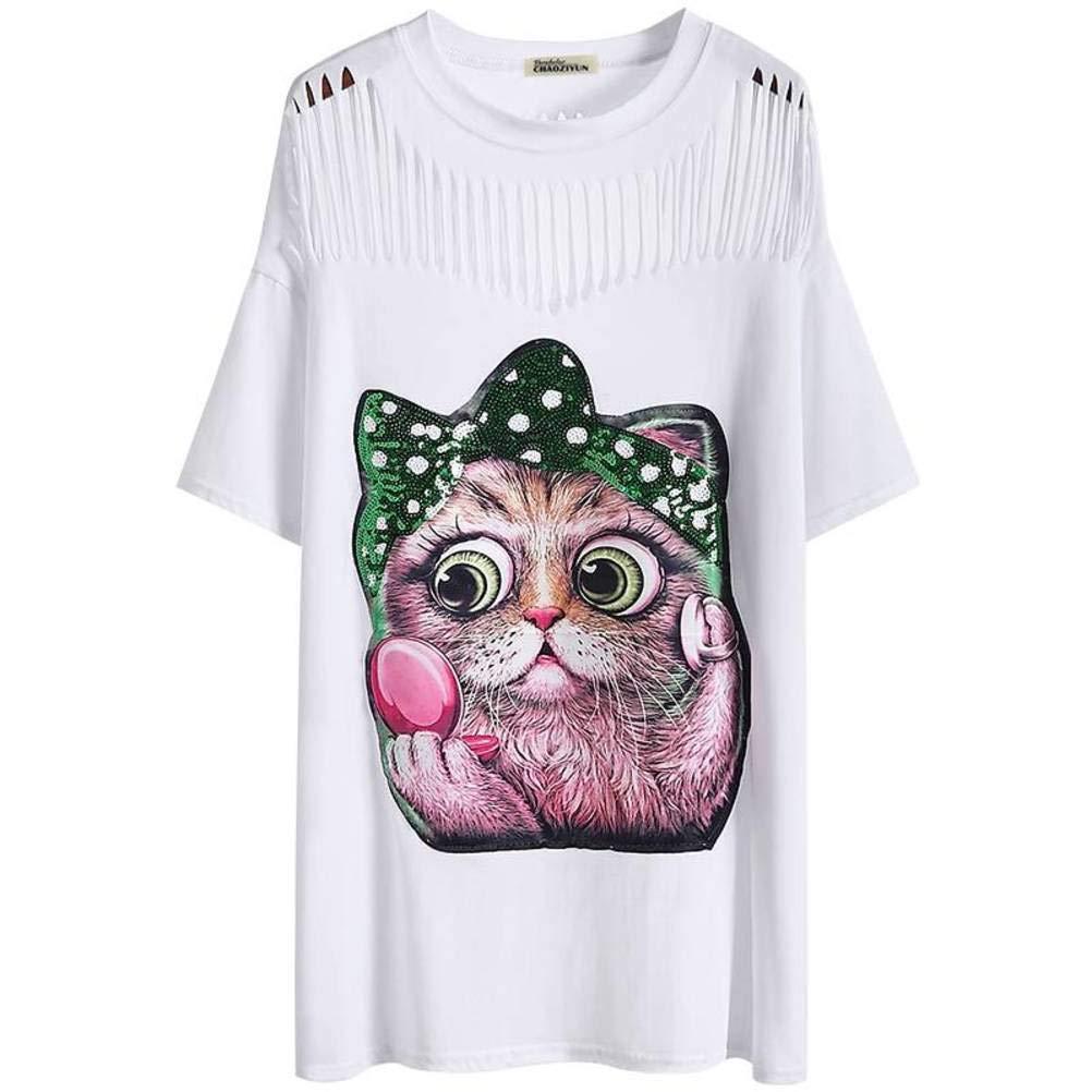 O&YQ Falda Blanca Larga Camiseta de Manga Corta Agujero Holgado ...