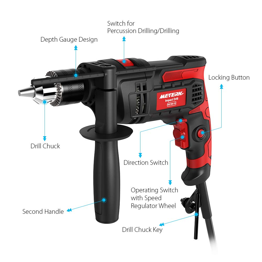 Meterk 7.0 Amp 1/2 Inch Corded Drill 850W, 3000RPM Dual Switch Between Electric Hammer Drill and Impact Drill, With Adjustable Speed for Drilling Wood, Steel, Concrete&Plastic DIY Drilling by Meterk (Image #3)
