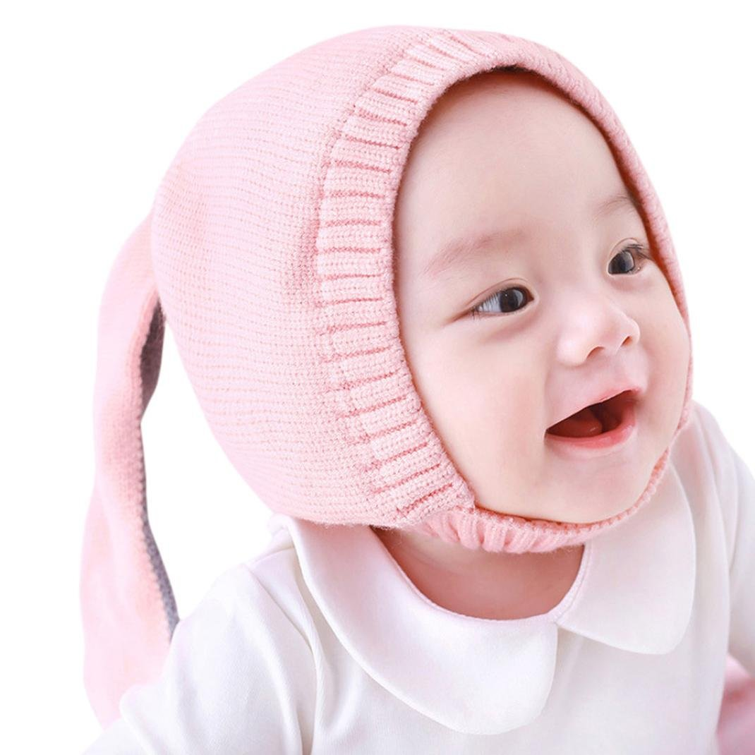 Molyveva Baby Children Hats Boys Girls Beanie Cotton Rabbit Ear Knitted Cap