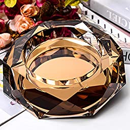 Max&Mix Crystal Ashtray,Cigar Ashtray European Living Room Ash Tray Holder Cigarettes Decor Tray for Home Office Tabletop Decoration,Gift Ashtray,Smoker,Gold
