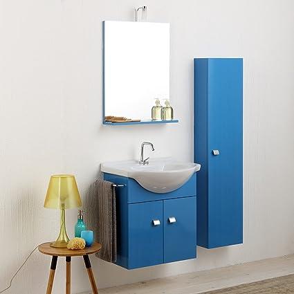 Mobiletto Bagno Piccoli Spazi Simply In Blu Luce Con Colonna Sospesa