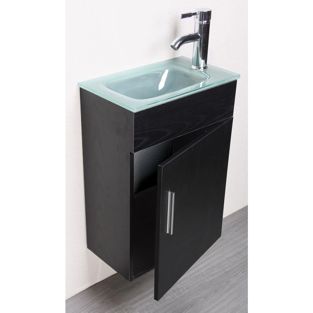 Wall-Mounted Vanity Set In Black With Tempered Glass Vanity Top In Clear  Frosted Counter Top Sink With Single Faucet Hole By Sheffield Home - -  Amazon