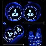 YenCar 車用 LED ドリンクホルダー レインボーコースター 車載 ロゴ ディスプレイライト LEDカーカップホルダー マットパッド (三菱Mitsubishi)