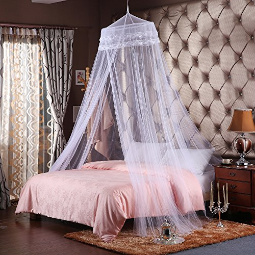 Cozyholy Luxury Mosquito Net for King/Queen/Single Bed Lace Dome Sleeping Bedding Net Curtains (White)