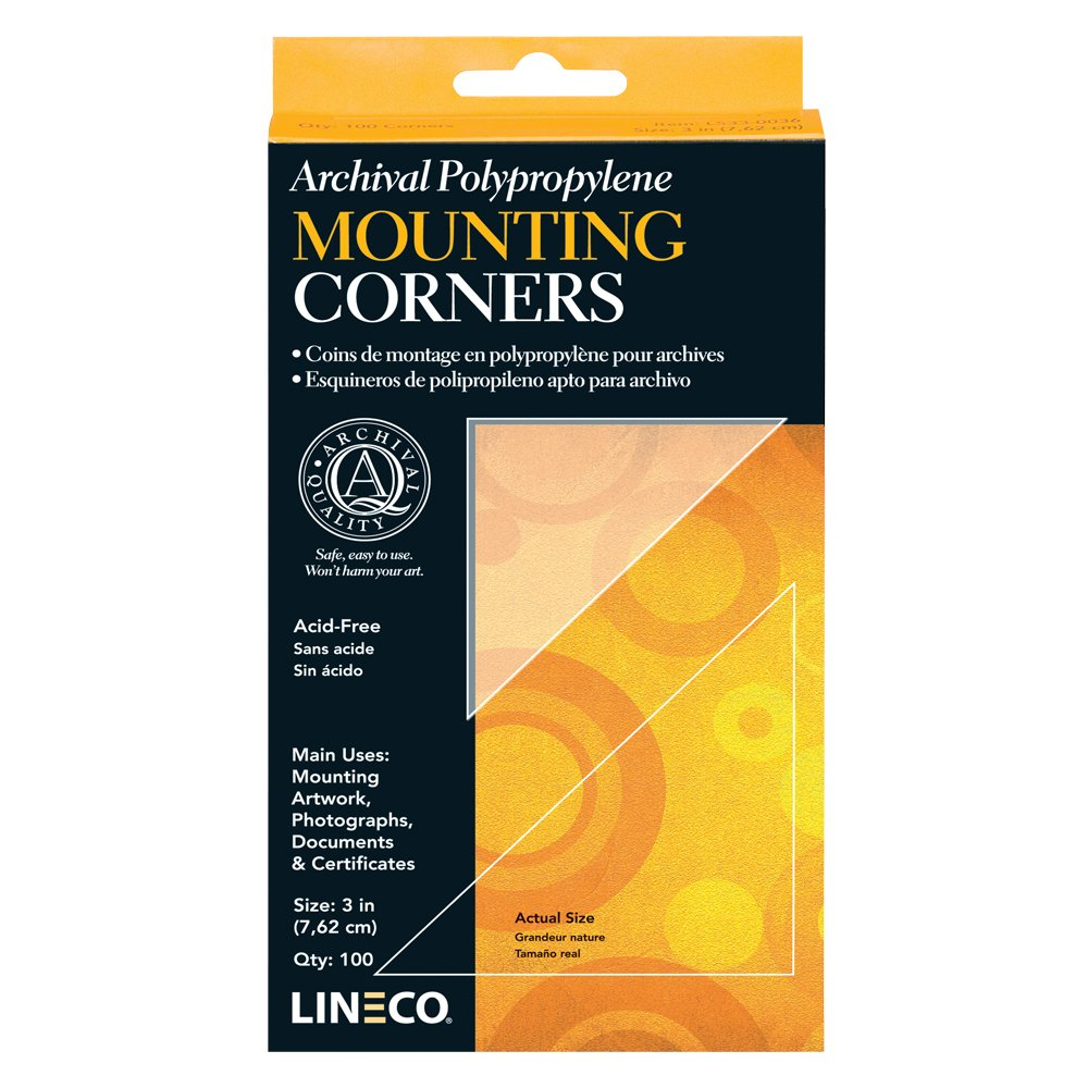 Lineco Self-Adhesive Polypropylene Mounting Corners - 3'' Clear (100/Pkg.)