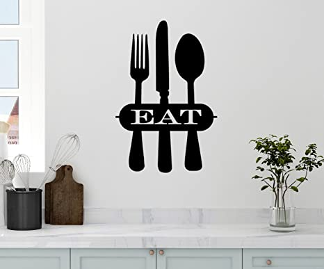 Fork and Spoon EAT Sign EAT decal EAT kitchen decal Kitchen Wall Art eat wall decal Farmhouse Kitchen kitchen wall decal