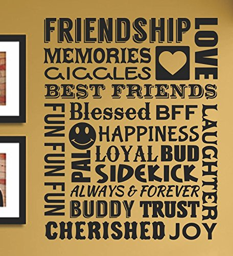 Friendship memories giggles love best friends blessed bff laughter happiness fun always forever buddy trust cherished joy Vinyl Wall Art Decal Sticker