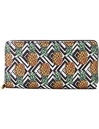 Women Leather Long Zipper Wallet Pineapple Print Designer Clutch Purse Credit Card Holder