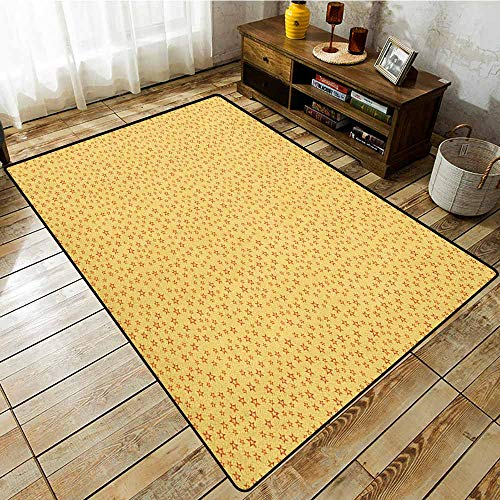 Classroom Rug,Stars,Doodle Style Five Pointed Geometric Shapes Abstract Heavenly Bodies Design,Large Area mat,5'10