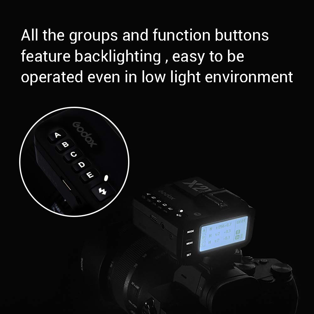 1//8000s high-Speed sync,5 Separate Group Buttons Godox X2T-N TTL 2.4G Wireless Flash Trigger for Nikon and 3 Function Buttons to Realize Quick Setting