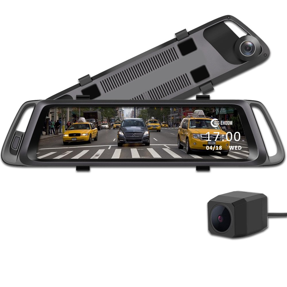EHOOM A10 9.88'' Full Touch Screen HD Mirror Dash Camera, Dual Lens Reversing Backup Cam, Car DVR with FHD 1080P Front Cam and HD 720P Rear Cam, Super Night Vision, WDR, HDR, Zero Blind Area - Grey