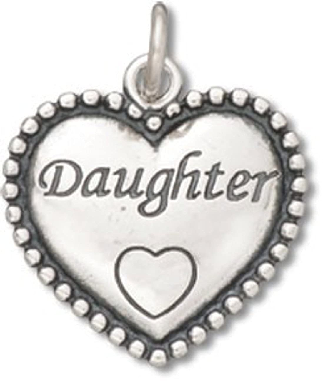 Sterling Silver Girls .8mm Box Chain Daughter Beaded Heart Shaped Pendant Necklace