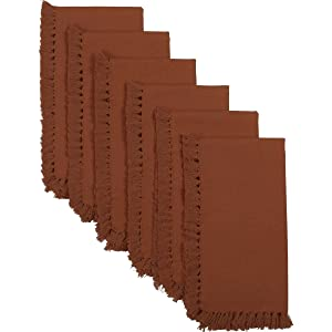 VHC Brands Harvest & Thanksgiving Farmhouse Tabletop & Kitchen - Cassidy Orange Napkin Set of 6, Rust