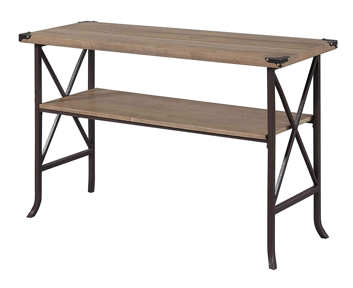 Convenience Concepts Brookline Console Table, Driftwood/Brown Frame by Convenience Concepts