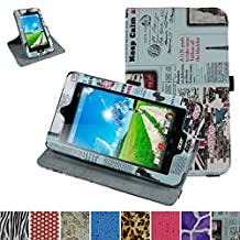 """Acer Iconia B1-770 Rotating Case,Mama Mouth 360 Degree Rotary Stand With Cute Lovely Pattern Cover For 7"""" Acer Iconia B1-770 Android Tablet,Newspaper"""