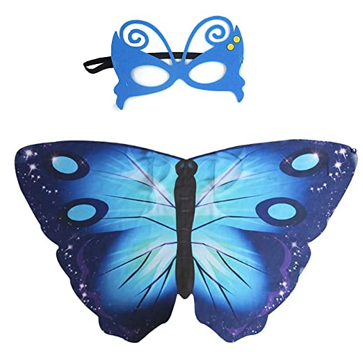 d712e9c0e Amazon.com: Rainawby Kids Butterfly Wings Dreamy Halloween Costume for Girls  Fancy Dress up Pretend Play Party Dance Accessories Favor Blue: Clothing