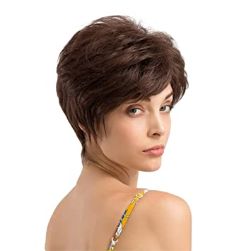Perücken Damen Kurze Lockige Haare Frisur Echthaarperücken