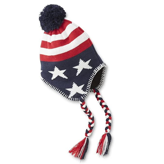 Amazon.com: Mens Americana -Stars & Stripes Earflaps Hat with Fleece ...