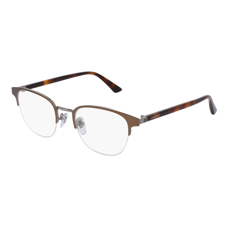 9d4faec4665 Amazon.com  Gucci GG 0020O 001 Black Metal Round Eyeglasses 49mm  Clothing