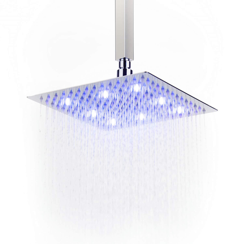 Soffione doccia a LED ad alta pressione ultra sottile in acciaio INOX 304 piazza soffione doccia a pioggia, cromato lucido, Acciaio inossidabile, 12 inch/30cm XINYU TRADE