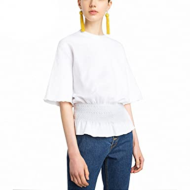 Women Solid White Shirts Half sleeve Ruffle Casual Elastic Waist Bandage Slim Autumn blusas