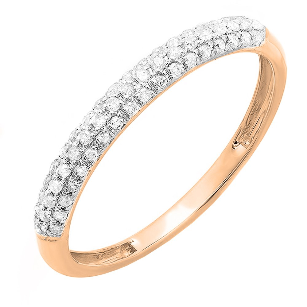 0.20 Carat (ctw) 10K Rose Gold Round Diamond Ladies Pave Wedding Stackable Band 1/5 CT (Size 4)