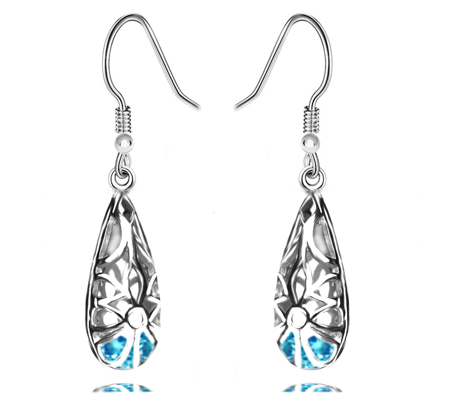 925 Sterling Silver Filigree Dangle Earrings for Women Fashion (blue)