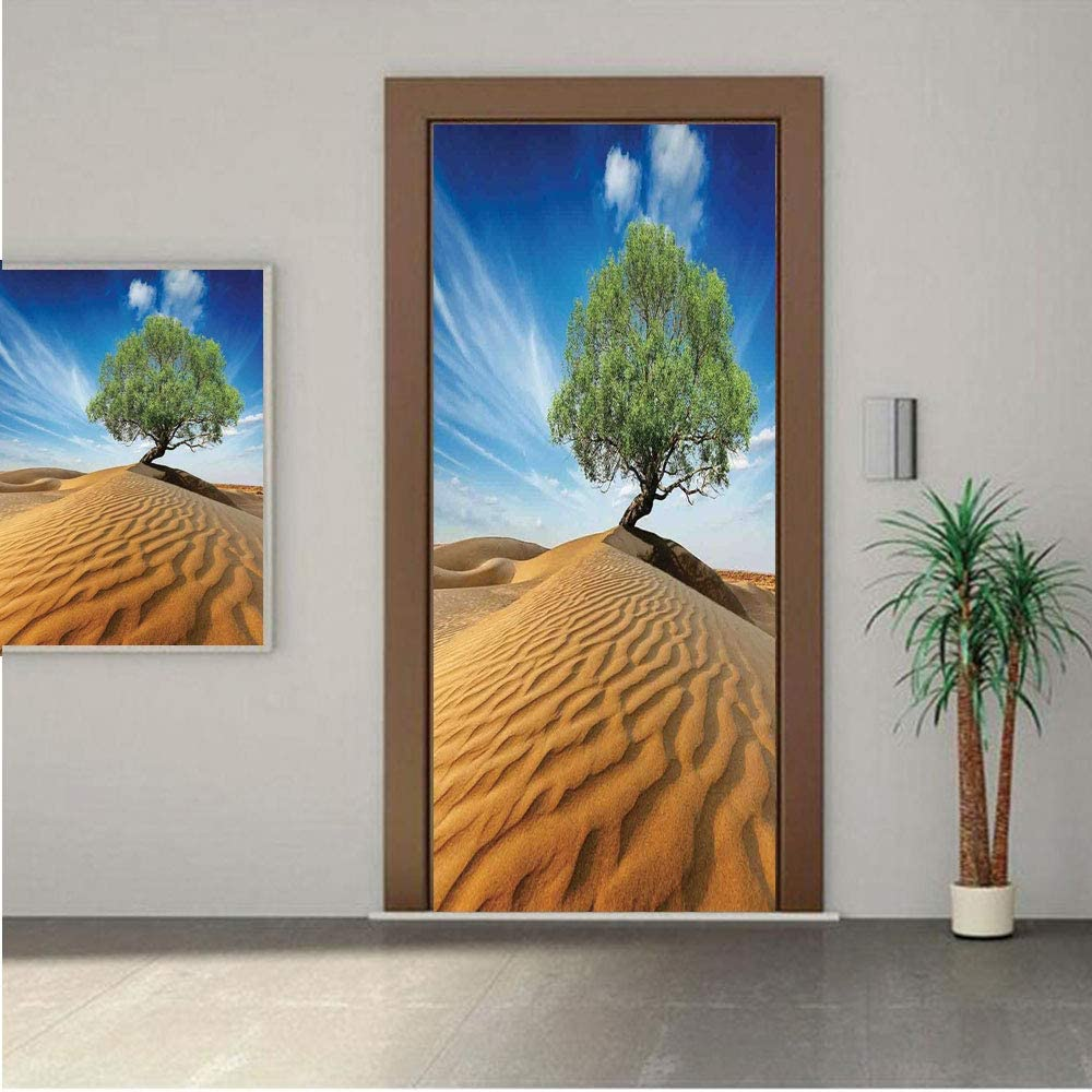 AngelSept Tree of Life Premium Stickers for Door/Wall/Fridge Home DecorTree in The Desert on Sand Dune Dry But Alive Nature Habitat Life Photo 18x80 ONE Piece Sticky Mural,Decal,Cover,Skin