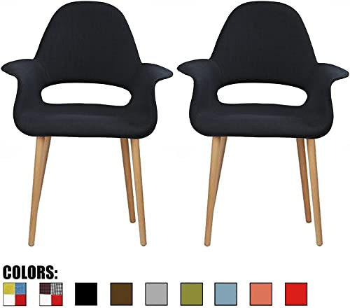 2xhome Set of 2, Black Mid Century Modern Upholstered Fabric Organic Accent Living Room Dining Chair Armchair Set with Back Arms Natural Light Wood Wooden Legs for Kitchen Bedroom