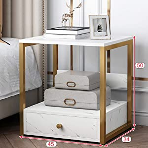 XM&LZ Mid-Century Nightstand with Drawers,Solid Wood Metal Frame Bedside Table Side Table,Bedroom End Table Nightstand with Sliding Drawer B 1 Drawer