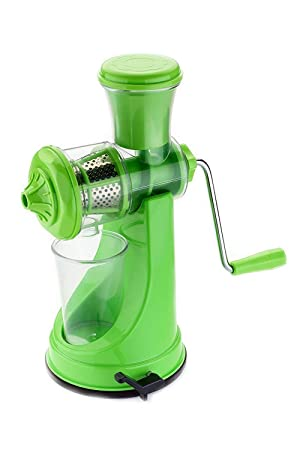Kitch Max Plastic Fruit and Vegetable Plastic Hand Juicer for Kitchen with Steel Handle,  Green  Manual Citrus Juicers