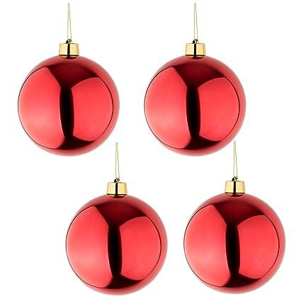 Christbaumkugeln Hochwertig.4 Grosse Weihnachtskugeln Christbaumkugeln Rot Glanzend 25 Cm Durchmesser Hochwertig Fur Innen Und Wetterfest Fur Aussen Mit Aufhangung Und Goldband