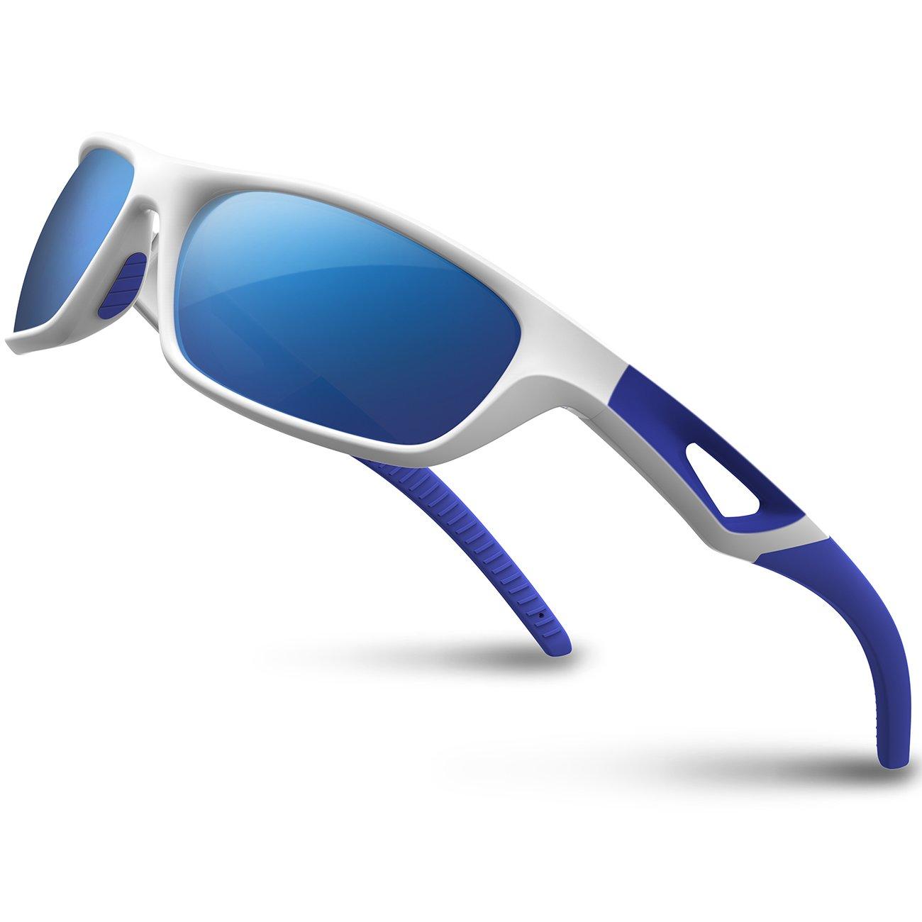 RIVBOS Polarized Sports Sunglasses Driving Sun Glasses Shades for Men Women Tr 90 Unbreakable Frame for Cycling Baseball Running Rb831 (White&Blue Mirror Lens)
