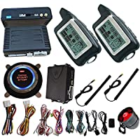 Automotive 2 Way Security Car Alarm System With Ignition Start Stop Button And Bypass Output