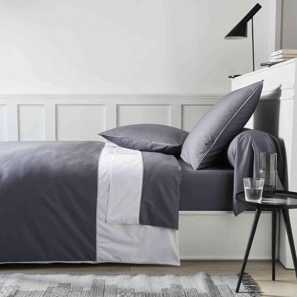 Parure de lit Percale Sydney Gris 240x220 cm