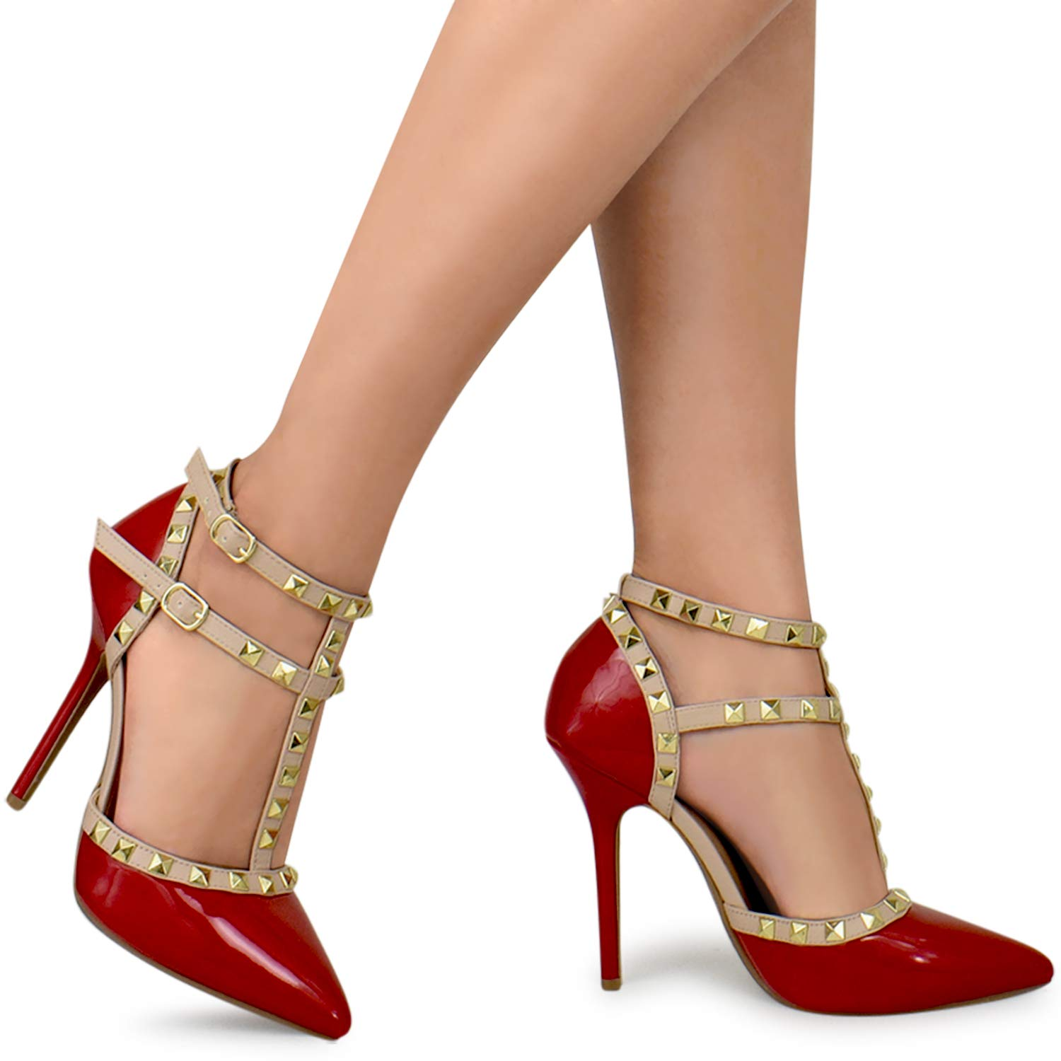 Premier Standard Womens Pointed Toe Studded Strappy High Heel Leather Pumps Stilettos Sandals