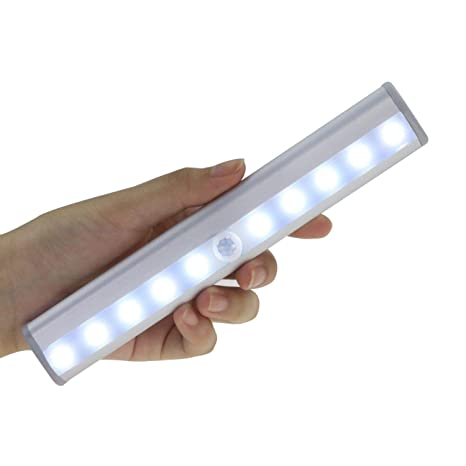 10 LED USB recargables magnetisch Detector de movimiento luz nocturna, Auto Encendido/Apagado Armario