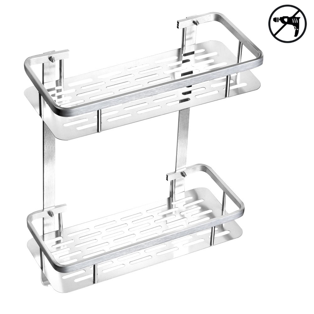 No Drilling Wall Mounted Bathroom Shelf Organizer, TIANG 2 Tiers Aluminum Adhesive Shower Corner Storage Shelf with 2 Hooks, Rectangle Space Saver Easy Install Caddy Shelf