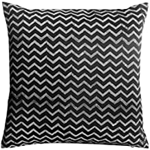 "Floor Cushion Cover Black Chevron Block Print Polyester 24"" 26"" 28"" 30"" 32"" COVER ONLY ,Insert not included (32x32"")"