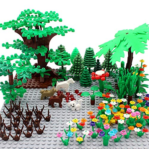 ZHX Garden Park Building Block Parts Botanical Scenery Accessories Plant Set Building Bricks Toy Trees Flowers Compatible All Major Brands