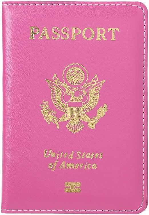 Porte Passeport de Voyage en Cuir Portefeuille de Passeport Protecteur de Couverture Jaune