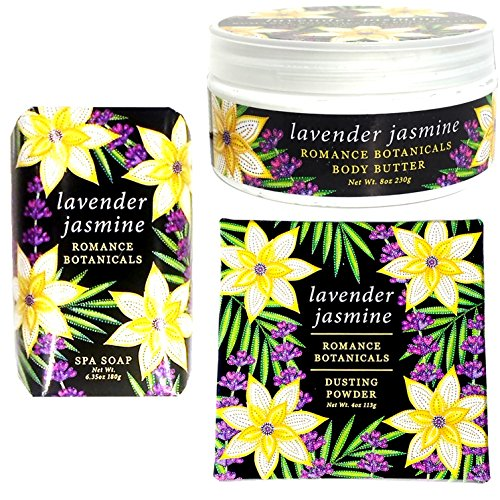 Greenwich Bay LAVENDER JASMINE 3 Piece Beauty Gift Set of : BODY BUTTER, SHEA BUTTER SOAP, and DUSTING POWDER w/Puff - Romance Collection