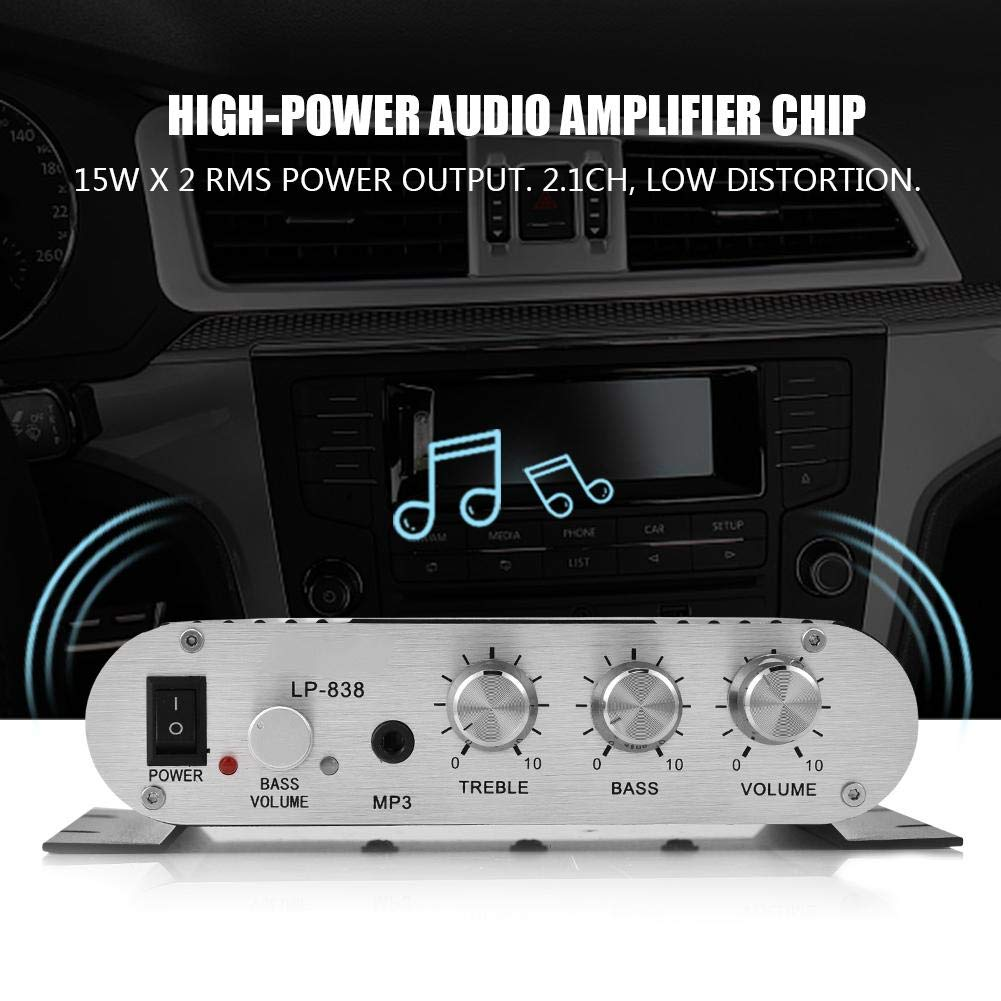 ASHATA Stereo Amplifier Digital Amp Mini HiFi 2.1 Stereo Bass Auto Car Home Audio Power Amplifier With RCA /& 3.5mm Audio Input,Two Pairs of Speaker Output Clips Silver