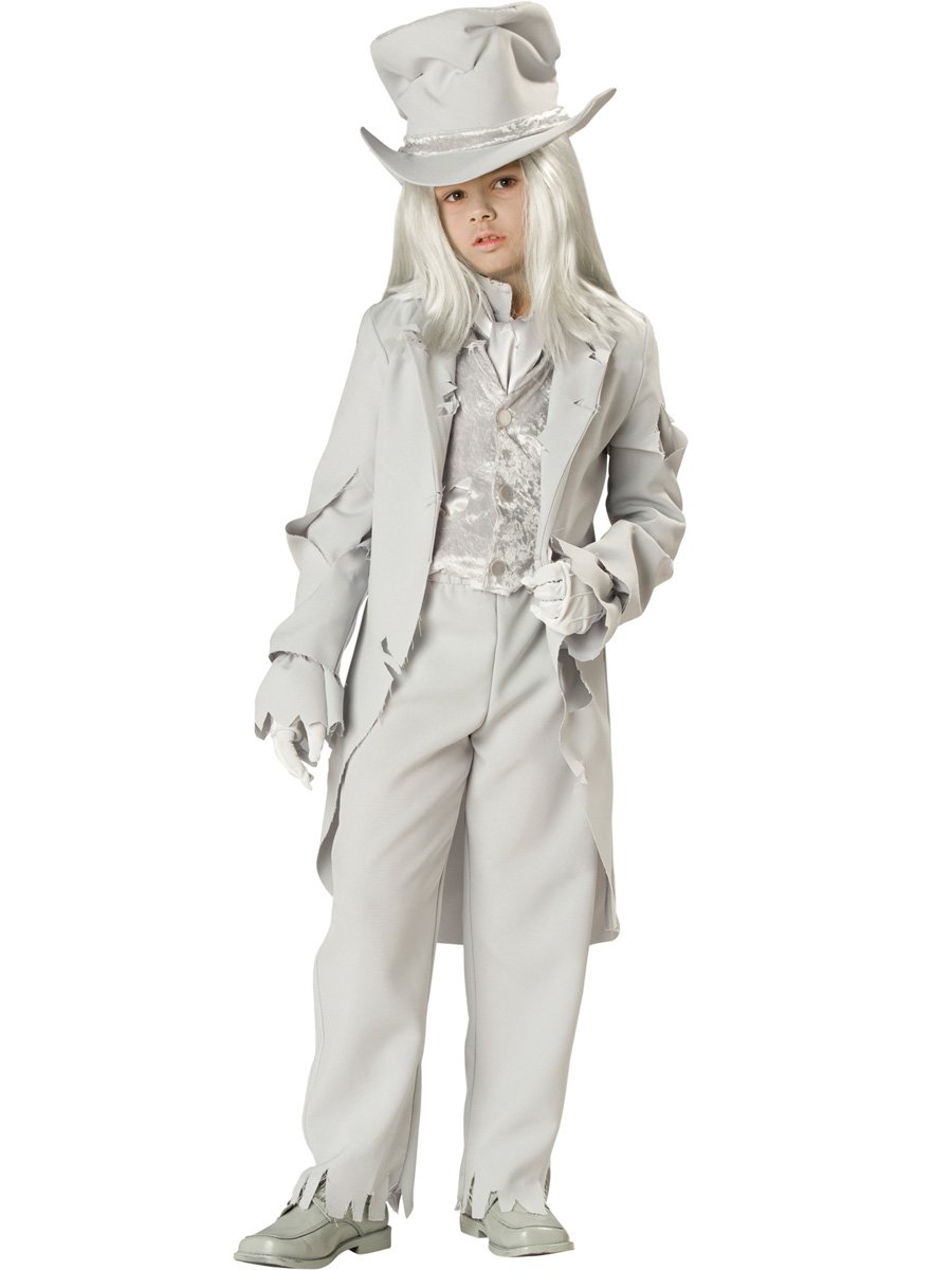InCharacter Costumes, LLC Boys 8-20 Ghostly Gent Tattered Coat Set, White, 12